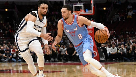 <p>               Chicago Bulls guard Zach LaVine (8) is defended by Memphis Grizzlies guard Dillon Brooks (24) during the first half of an NBA basketball game Wednesday, Dec. 4, 2019, in Chicago. (AP Photo/David Banks)             </p>