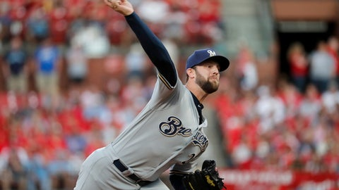 <p>               FILE - In this Sept. 14, 2019, file photo, Milwaukee Brewers starting pitcher Jordan Lyles throws during the first inning of a baseball game against the St. Louis Cardinals in St. Louis. The Texas Rangers completed a $16 million, two-year contract with free agent right-hander Lyles, finalizing a deal that had been agreed upon before this week's winter meetings. Texas agreed to a $585,000, one-year contract on Friday, Dec. 13, 2019, with left-hander Jeffrey Springs, designated for assignment by the Rangers 11 days earlier. (AP Photo/Jeff Roberson, File)             </p>