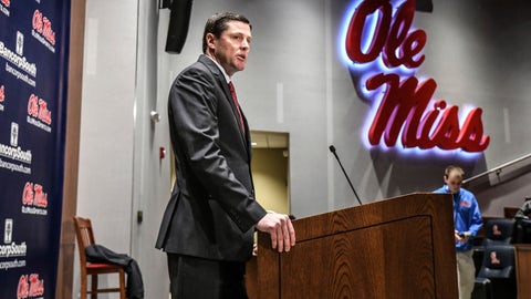 <p>               Mississippi athletic director Keith Carter discusses the future of the football program during a news conference at the Manning Center, in Oxford, Miss. on Monday, Dec. 2, 2019. Mississippi fired football coach Matt Luke on Sunday, three days after his third non-winning season ended with an excruciating rivalry game loss. (Bruce Newman/The Oxford Eagle via AP)             </p>