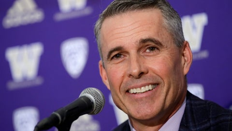 <p>               Washington NCAA college football head coach Chris Petersen speaks at a news conference about his decision to resign at the end of the season, Tuesday, Dec. 3, 2019, in Seattle. Petersen unexpectedly resigned on Monday, a shocking announcement with the Huskies coming off a 7-5 regular season and bound for a sixth straight bowl game under his leadership. Petersen will coach Washington in a bowl game, his final game in charge. Defensive coordinator Jimmy Lake is being promoted to head coach. (AP Photo/Elaine Thompson)             </p>