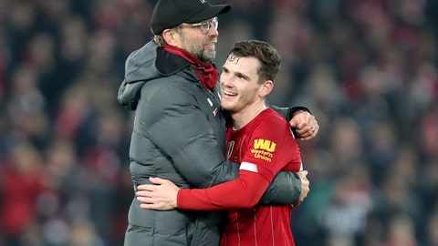 <p>               Liverpool's manager Jurgen Klopp embraces Liverpool's Andrew Robertson at the end of the English Premier League soccer match between Liverpool and Wolverhampton Wanderers at Anfield Stadium, Liverpool, England, Sunday Dec. 29, 2019. Liverpool won 1-0. (AP Photo/Jon Super)             </p>