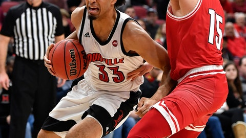 <p>               Louisville forward Jordan Nwora (33) works around Miami (Ohio) guard Milos Jovic (15) during the second half of an NCAA college basketball game in Louisville, Ky., Wednesday, Dec. 18, 2019. Louisville won 70-46. (AP Photo/Timothy D. Easley)             </p>