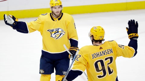 <p>               Nashville Predators center Calle Jarnkrok (19), of Sweden, celebrates with Ryan Johansen (92) after Jarnkrok scored an empty-net goal against the San Jose Sharks in the third period of an NHL hockey game Tuesday, Dec. 10, 2019, in Nashville, Tenn. The Predators won 3-1. (AP Photo/Mark Humphrey)             </p>