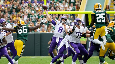 <p>               FILE - In this Sept. 15, 2019, file photo, Minnesota Vikings quarterback Kirk Cousins throws a pass during the second half of the team's NFL football game against the Green Bay Packers in Green Bay, Wis. Cousins and the Minnesota Vikings finally have the opportunity to avenge a damaging defeat in Green Bay in the second game of the season. They host the rematch with the Packers, on track for the playoffs with the chance to prevent their chief rival from clinching the division title on their home turf. The Packers won the first meeting 21-16, after Cousins threw a dangerous pass in the fourth quarter that was intercepted in the end zone. (AP Photo/Mike Roemer, File)             </p>