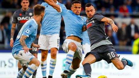 <p>               Udinese's Ilija Nestorovski, right, prepares to kick the ball during the Italian Serie A soccer match between Lazio and Udinese at the Olympic stadium in Rome, Sunday, Dec. 1, 2019. (Angelo Carconi/ANSA via AP)             </p>