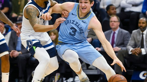 <p>               Memphis Grizzlies guard Grayson Allen drives past Minnesota Timberwolves guard Shabazz Napierduring the first half of a NBA basketball game Sunday, Dec. 1, 2019, in Minneapolis. (AP Photo/Craig Lassig)             </p>
