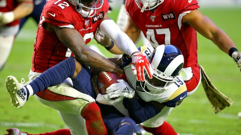 <p>               Los Angeles Rams wide receiver JoJo Natson (19) is hit by Arizona Cardinals wide receiver Pharoh Cooper (12) on a punt return during the second half of an NFL football game, Sunday, Dec. 1, 2019, in Glendale, Ariz. (AP Photo/Ross D. Franklin)             </p>