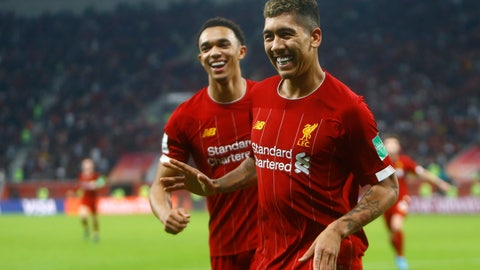 <p>               Liverpool's Roberto Firmino celebrates after scoring his side's second goal during the Club World Cup semifinal soccer match between Liverpool and Monterrey at the Khalifa International Stadium in Doha, Qatar, Wednesday, Dec. 18, 2019. (AP Photo/Hussein Sayed)             </p>