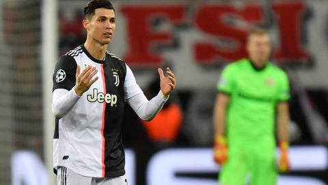 <p>               Juventus' Cristiano Ronaldo reacts during the Champions League Group D soccer match between Bayer Leverkusen and Juventus at the BayArena in Leverkusen, Germany, Wednesday, Dec. 11, 2019. (AP Photo/Martin Meissner)             </p>