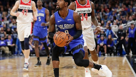 <p>               Orlando Magic's Terrence Ross center, lines up a shot as he gets in front of Washington Wizards' C.J. Miles (34) during the second half of an NBA basketball game, Sunday, Nov. 17, 2019, in Orlando, Fla. (AP Photo/John Raoux)             </p>
