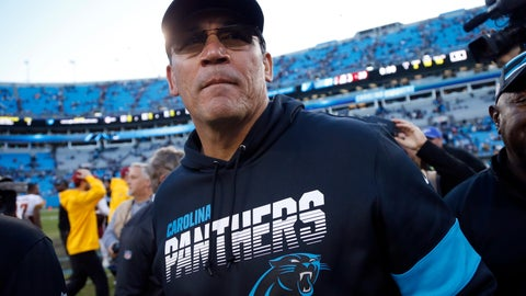 <p>               FILE - In this Sunday, Dec. 1, 2019, file photo, Carolina Panthers head coach Ron Rivera leaves the field following an NFL football game against the Washington Redskins in Charlotte, N.C. The Panthers fired Rivera on Tuesday, Dec. 3, 2019, parting ways with him with four games left in the regular season. (AP Photo/Brian Blanco, File)             </p>