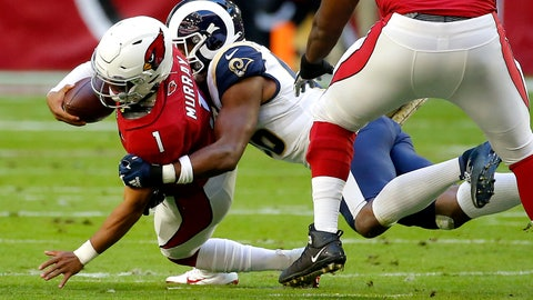 <p>               Arizona Cardinals quarterback Kyler Murray is sacked by Los Angeles Rams defensive end Dante Fowler during the first half of an NFL football game, Sunday, Dec. 1, 2019, in Glendale, Ariz. (AP Photo/Rick Scuteri)             </p>