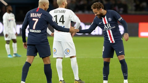 <p>               PSG's Kylian Mbappe, left, and Neymar celebrate after scoring their side's third goal during the League One soccer match between Paris Saint Germain and Amiens, at the Parc des Princes stadium in Paris, Saturday, Dec. 21, 2019. (AP Photo/Thibault Camus)             </p>