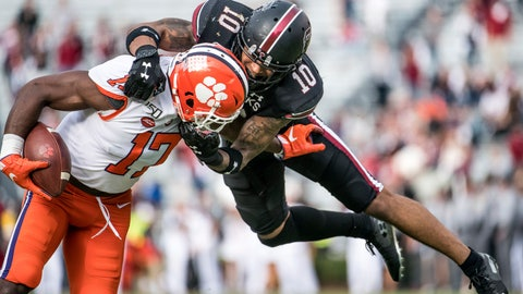 <p>               South Carolina defensive back R.J. Roderick (10) tackles Clemson wide receiver Cornell Powell (17) during the second half of an NCAA college football game Saturday, Nov. 30, 2019, in Columbia, S.C. Clemson defeated South Carolina 38-3. (AP Photo/Sean Rayford)             </p>