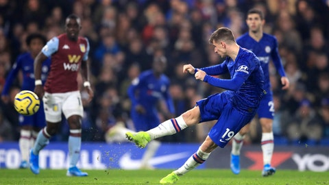 <p>               Chelsea's Mason Mount scores his side's second goal of the game against Aston Villa during their English Premier League soccer match at Stamford Bridge in London, Wednesday Dec. 4, 2019. (Adam Davy/PA via AP)             </p>