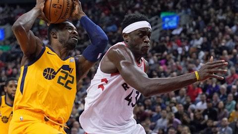 <p>               Utah Jazz's Patrick McCaw (22) collides with Toronto Raptors' Pascal Siakam (43) during first half NBA basketball action in Toronto, Sunday, Dec. 1, 2019. (Hans Deryk/The Canadian Press via AP)             </p>