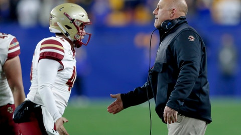 <p>               Boston College head coach Steve Addazio, right, greets long snapper Aidan Livingston, left, after the team made a field goal against Pittsburgh during the second half of an NCAA college football game, Saturday, Nov. 30, 2019, in Pittsburgh. (AP Photo/Keith Srakocic)             </p>