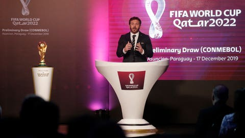 <p>               Alejandro Dominguez, head of the South American soccer governing body Conmebol, presents the draw for Qatar 2022 South American qualifiers in Asuncion, Paraguay, Tuesday, Dec. 17, 2019. (AP Photo/Cesar Olmedo)             </p>