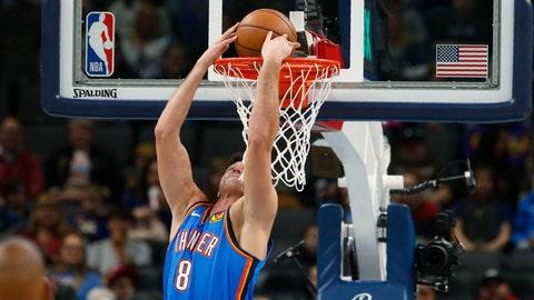<p>               Oklahoma City Thunder forward Danilo Gallinari dunks during the first half of the team's NBA basketball game against the Minnesota Timberwolves on Friday, Dec. 6, 2019, in Oklahoma City. (AP Photo/Sue Ogrocki)             </p>