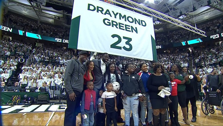 Draymond Green gets choked up as he watches his number get retired at Michigan State
