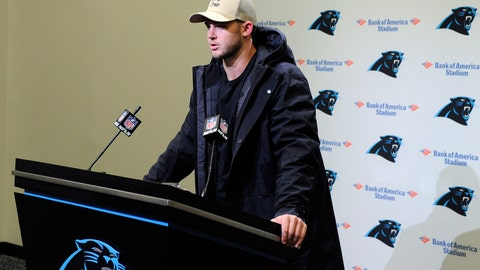 <p>               Carolina Panthers quarterback Kyle Allen speaks to members of the media following an NFL football game against the Atlanta Falcons in Charlotte, N.C., Sunday, Nov. 17, 2019. (AP Photo/Mike McCarn)             </p>