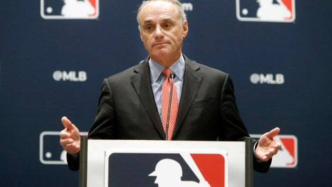 <p>               Baseball commissioner Rob Manfred speaks to the media at the owners meeting in Arlington, Texas, Thursday, Nov. 21, 2019. (AP Photo/LM Otero)             </p>