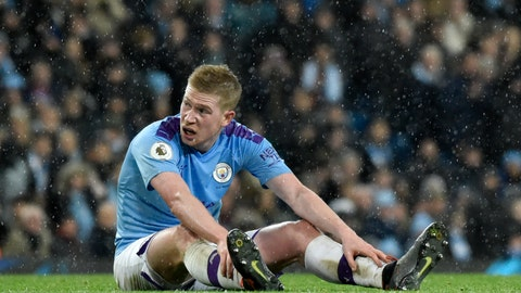 <p>               Manchester City's Kevin De Bruyne sits on the pitch before being substituted in the last minutes of the English Premier League soccer match between Manchester City and Leicester City at Etihad stadium in Manchester, England, Saturday, Dec. 21, 2019. (AP Photo/Rui Vieira)             </p>