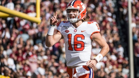<p>               Clemson quarterback Trevor Lawrence (16) celebrates the a touchdown against South Carolina during the first half of an NCAA college football game Saturday, Nov. 30, 2019, in Columbia, S.C. (AP Photo/Sean Rayford)             </p>