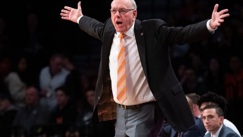 <p>               Syracuse head coach Jim Boeheim reacts during the first half of an NCAA college basketball game against Penn State in the consolation round of the NIT Season Tip-Off tournament, Friday, Nov. 29, 2019, in New York. (AP Photo/Mary Altaffer)             </p>