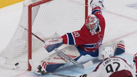 <p>               Montreal Canadiens goaltender Cayden Primeau makes a save against Colorado Avalanche's Gabriel Landeskog during the second period of an NHL hockey game Thursday, Dec. 5, 2019, in Montreal. (Graham Hughes/The Canadian Press via AP)             </p>