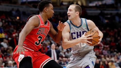 <p>               Charlotte Hornets center Cody Zeller, right, drives against Chicago Bulls center Wendell Carter Jr. during the first half of an NBA basketball game Friday, Dec. 13, 2019, in Chicago. (AP Photo/Nam Y. Huh)             </p>