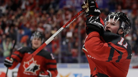 <p>               Canada's Alexis Lafreniere celebrates after scoring his sides fifth goal during the U20 Ice Hockey Worlds match between Canada and the United States in Ostrava, Czech Republic, Thursday, Dec. 26, 2019. (AP Photo/Petr David Josek)             </p>