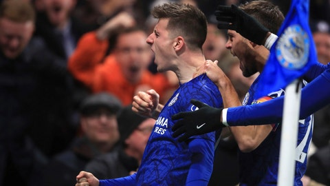 <p>               Chelsea's Mason Mount celebrates scoring his side's second goal of the game against Aston Villa during their English Premier League soccer match at Stamford Bridge in London, Wednesday Dec. 4, 2019. (Adam Davy/PA via AP)             </p>