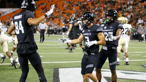 <p>               Hawaii wide receiver Jason-Matthew Sharsh, center, celebrates with teammates after he scored a touchdown against Army during the first half of an NCAA college football game Saturday, Nov. 30, 2019 in Honolulu. (AP Photo/Marco Garcia)             </p>