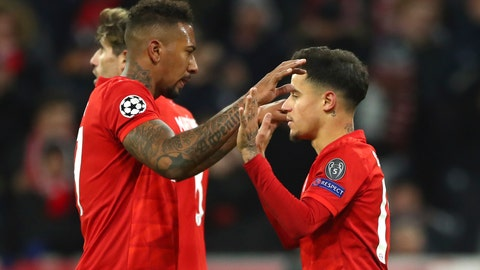 <p>               Bayern's Philippe Coutinho, right, celebrates with Bayern's Jerome Boateng after scoring his sides third goal during the Champions League group B soccer match between Bayern Munich and Tottenham Hotspur at the Allianz Arena stadium, in Munich, Wednesday, Dec. 11, 2019. (AP Photo/Matthias Schrader)             </p>