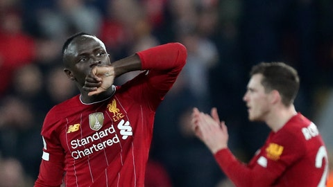 <p>               Liverpool's Sadio Mane celebrates after scoring the opening goal during the English Premier League soccer match between Liverpool and Wolverhampton Wanderers at Anfield Stadium, Liverpool, England, Sunday Dec. 29, 2019. (AP Photo/Jon Super)             </p>