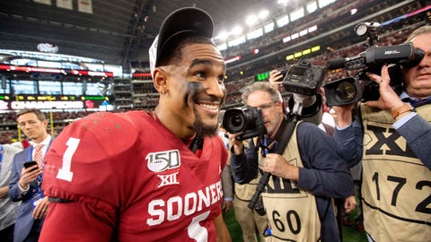 <p>               Oklahoma quarterback Jalen Hurts (1) smiles after putting on his conference championship hat after Oklahoma's 30-23 overtime victory over Baylor in an NCAA college football game for the Big 12 Conference championship, Saturday, Dec. 7, 2019, in Arlington, Texas. (AP Photo/Jeffrey McWhorter)             </p>