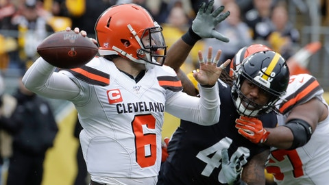 <p>               Cleveland Browns quarterback Baker Mayfield (6) passes as he is pressured by Pittsburgh Steelers outside linebacker Bud Dupree (48) in the first half of an NFL football game Sunday, Dec. 1, 2019, in Pittsburgh. (AP Photo/Gene J. Puskar)             </p>