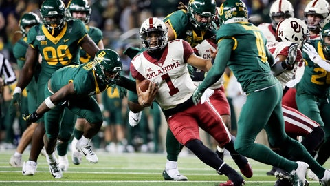 <p>               Oklahoma quarterback Jalen Hurts (1) carries the ball as he cuts back on Baylor cornerback Jameson Houston, right, during the second half of an NCAA college football game in Waco, Texas, Saturday, Nov. 16, 2019. Oklahoma won 34-31. (AP Photo/Ray Carlin)             </p>