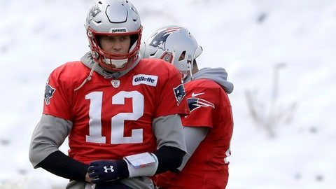 <p>               New England Patriots quarterback Tom Brady (12) warms up during an NFL football practice, Wednesday, Dec. 4, 2019, in Foxborough, Mass. (AP Photo/Steven Senne)             </p>
