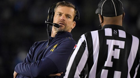 <p>               California coach Justin Wilcox, left, talks to an official during the first half of the team's NCAA college football game against UCLA on Saturday, Nov. 30, 2019, in Pasadena, Calif. (AP Photo/Mark J. Terrill)             </p>