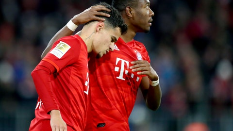 <p>               Bayern's Philippe Coutinho, left, celebrates after scoring his side's third goal during the German Bundesliga soccer match between FC Bayern Munich and SV Werder Bremen in Munich, Germany, Saturday, Dec. 14, 2019. (AP Photo/Matthias Schrader)             </p>