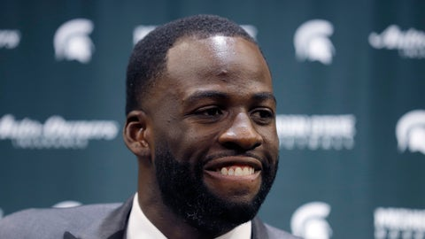 <p>               Former Michigan State and current Golden State Warriors player Draymond Green talks to reporters before an NCAA college basketball Tuesday, Dec. 3, 2019, in East Lansing, Mich. (AP Photo/Al Goldis)             </p>