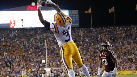 <p>               LSU safety JaCoby Stevens (3) pulls in an interception in the end zone on a pass intended for Texas A&M wide receiver Kendrick Rogers (13) during the second half of an NCAA college football game in Baton Rouge, La., Saturday, Nov. 30, 2019. LSU won 50-7. (AP Photo/Gerald Herbert)             </p>