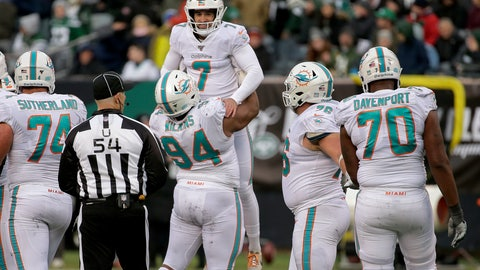 <p>               Miami Dolphins kicker Jason Sanders (7) celebrates after kicking a field goal against the New York Jets during the fourth quarter of an NFL football game, Sunday, Dec. 8, 2019, in East Rutherford, N.J. (AP Photo/Seth Wenig)             </p>