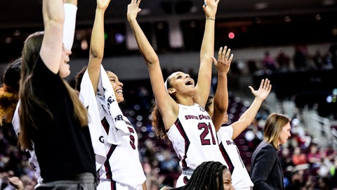 <p>               South Carolina forward Mikiah Herbert Harrigan (21) and Victaria Saxton (5) celebrate a score during the second half of an NCAA college basketball game against Purdue, Sunday, Dec. 15, 2019, in Columbia, S.C. (AP Photo/Sean Rayford)             </p>