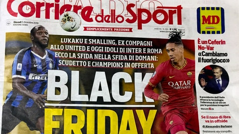 "<p>               The front page of the Italian sports daily, Corriere dello Sport, Thursday, Dec. 5, 2019. A leading Italian sports daily is facing criticism for a headline reading ""Black Friday"" and featuring two black soccer players on the cover. Corriere dello Sport on Thursday ran photos of Roma defender Chris Smalling and Inter Milan striker Romelu Lukaku ahead Friday's match between the teams in Milan on Friday. (AP Photo/Fabio Polimeni)             </p>"