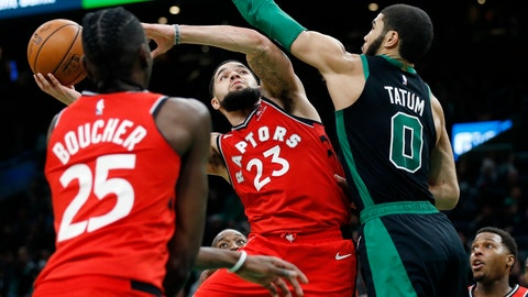 <p>               Toronto Raptors' Fred VanVleet (23) shoots against Boston Celtics' Jayson Tatum (0) during the second half on an NBA basketball game in Boston, Saturday, Dec. 28, 2019. (AP Photo/Michael Dwyer)             </p>