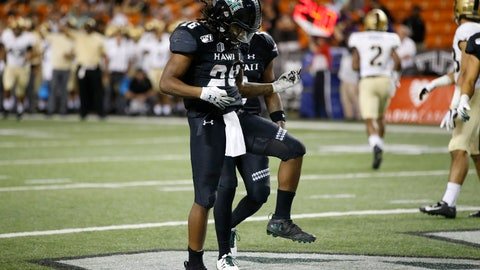 <p>               Hawaii running back Miles Reed (26) reacts after making a touchdown in the end zone against Army during the second half of an NCAA college football game Saturday, Nov. 30, 2019 in Honolulu. (AP Photo/Marco Garcia)             </p>