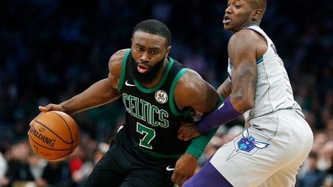 <p>               Boston Celtics' Jaylen Brown (7) drives past Charlotte Hornets' Terry Rozier, right, during the first half of an NBA basketball game in Boston, Sunday, Dec. 22, 2019. (AP Photo/Michael Dwyer)             </p>